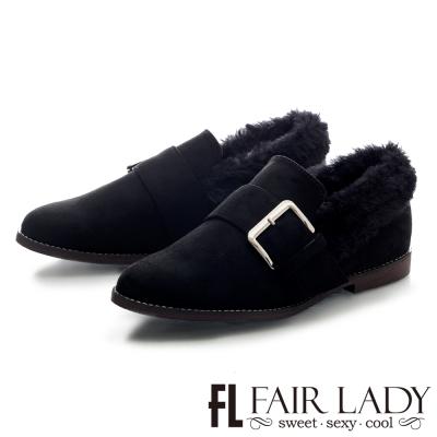 Fair Lady 滾毛領方釦麂皮粗跟鞋 黑