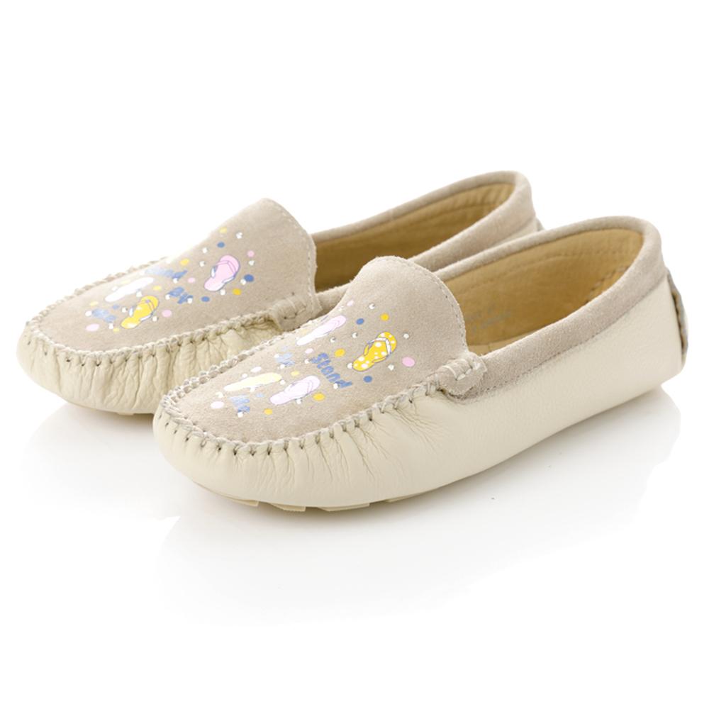 G.Ms.親子鞋-麂皮X牛皮彩繪貼鑽休閒鞋-甜心白
