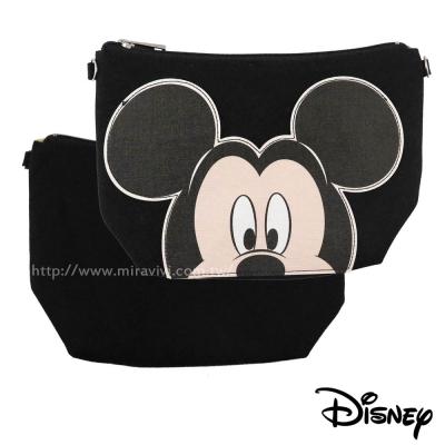 迪士尼經典人物大臉系列多功能帆布化妝包/萬用包/斜背包-米奇