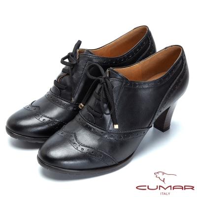 CUMAR英倫風情-真皮綁帶粗跟牛津鞋-黑