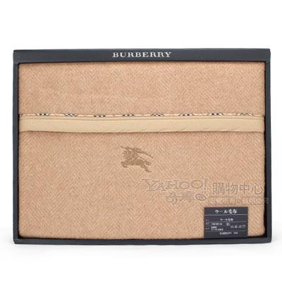BURBERRY 經典刺繡戰馬保暖羊毛毯-駝