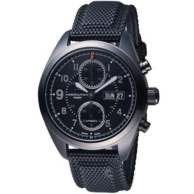 HAMILTON Khaki Field系列黑曜王者機械計時腕錶-黑/42mm