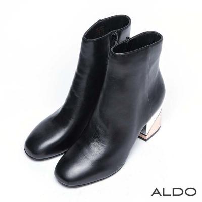 ALDO 原色真皮雙色金屬面粗跟短靴~尊爵黑色