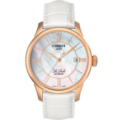 TISSOT力洛克優雅機械錶(T41645383)-白貝/39.3mm