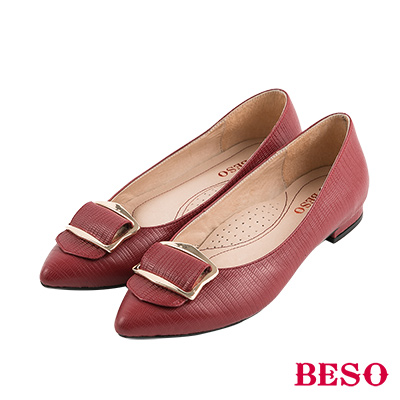 BESO摩登時尚 質感蜥蜴紋五金全真皮低跟鞋~紅