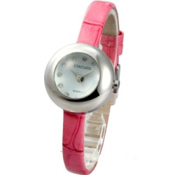 STACCATO 童趣泡泡時尚氣質腕錶-銀白x甜美粉/28mm