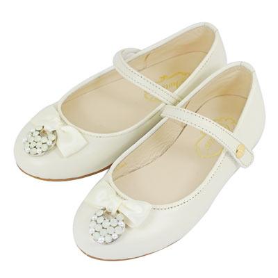 Swan天鵝童鞋-氣質緞帶水晶圓釦公主鞋 3748-米