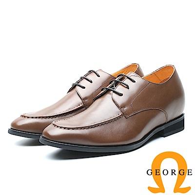 GEORGE 喬治-內增高系列 簡約真皮紳士鞋皮鞋 男鞋-咖