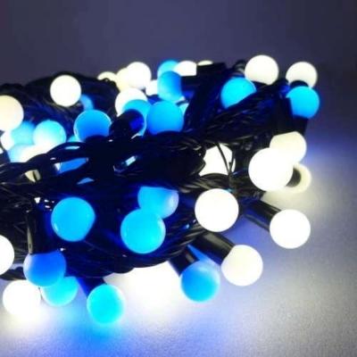 聖誕燈100燈LED圓球珍珠燈串(插電式/藍白光黑線/附控制器跳機)(高亮度又省電)