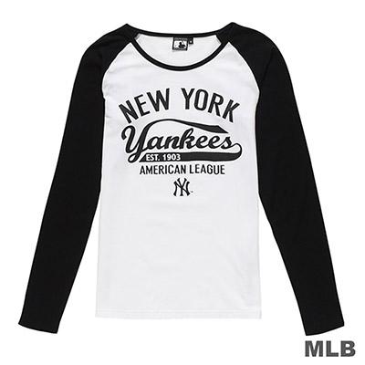 MLB-紐約洋基隊草寫印花長袖T恤-白 (女)