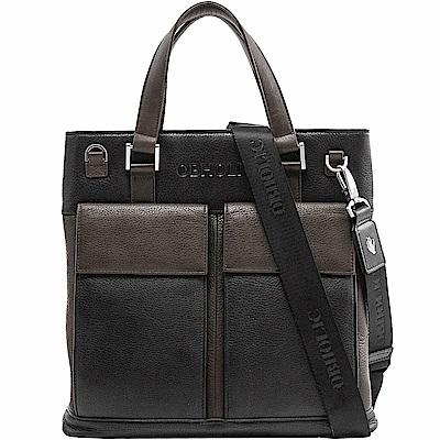 OBHOLIC 黑色咖啡色牛皮手提包肩背包