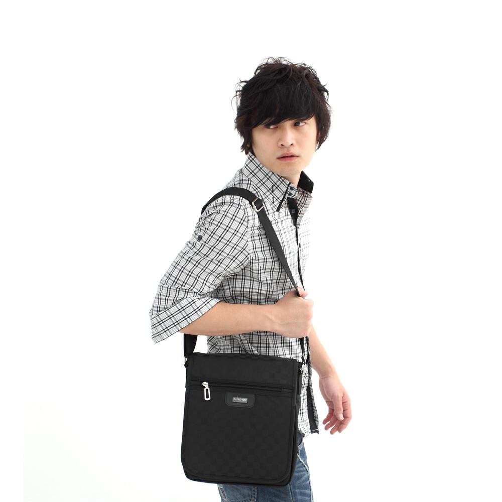 DF BAGSCHOOL - 台灣製造休閒百搭菱格紋直立掀蓋式側背包