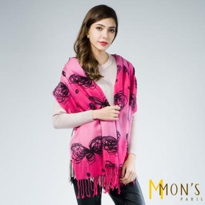 MONS-花朵圖案羊毛披肩-圍巾