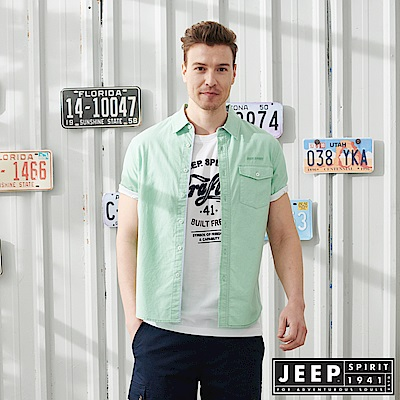 JEEP休閒渡假風短袖襯衫-淡綠