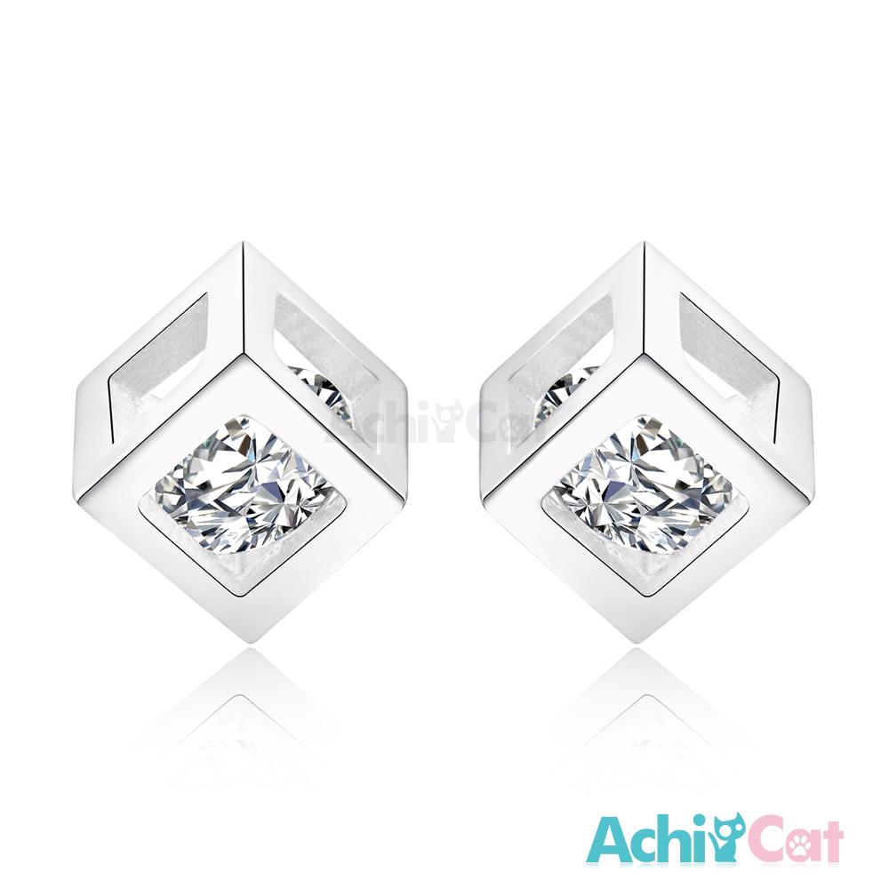 AchiCat 925純銀耳環 晶鑽方塊