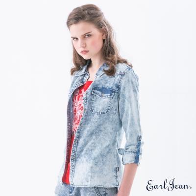 Earl Jean 雪花牛仔襯衫-淺藍-女