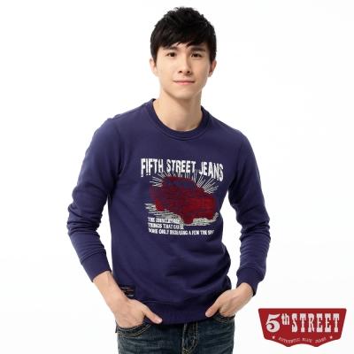 5th-STREET-復古車印圖長袖T恤-男-暗紫色