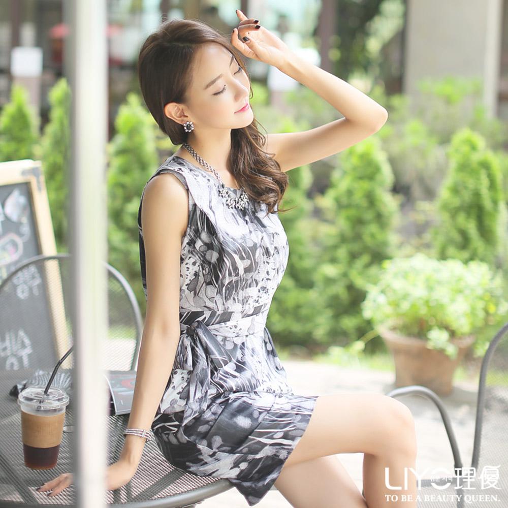 LIYO理優洋裝印花修身無袖洋裝(黑)