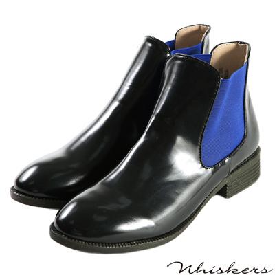 Whiskers-防潑水亮面拼接鬆緊短靴-藍色