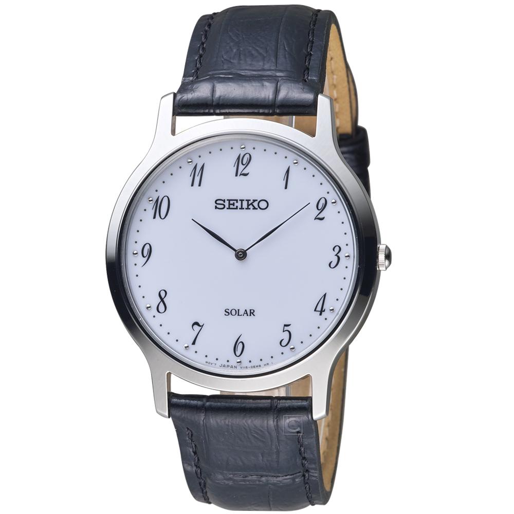 SEIKO精工簡約經典時尚太陽能腕錶(V115-0BE0W SUP863P1)-38mm