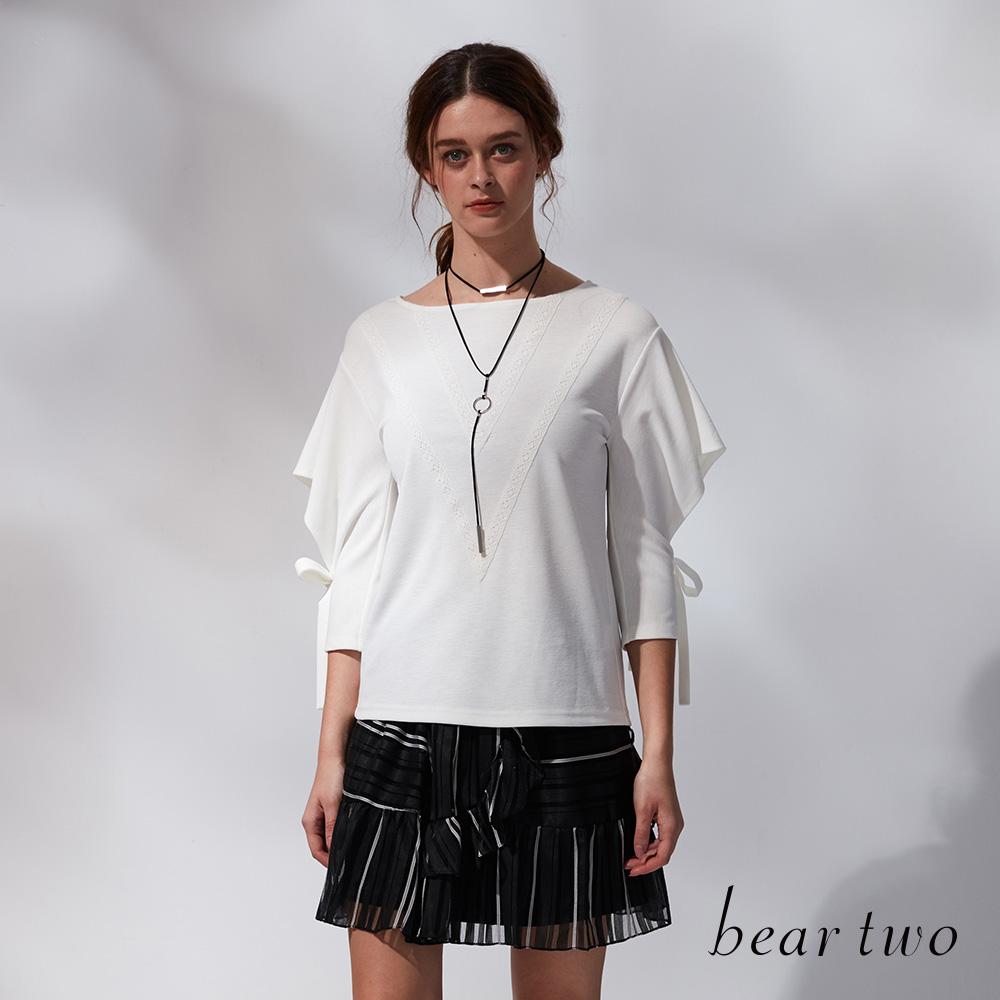 beartwo V型刺繡流蘇綁帶上衣(三色)