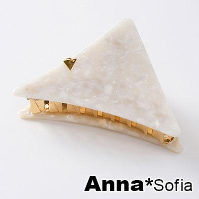 AnnaSofia 三角垂墜彩石華紋 純手工中型髮抓髮夾(米系)