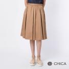 CHICA 巴黎街頭細褶設計中長圓裙(2色)