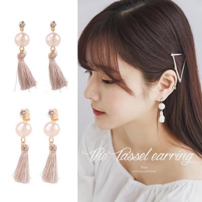 梨花HaNA-無耳洞韓國低調灰紫流蘇珍珠耳環夾式