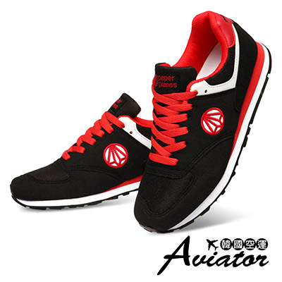 Aviator*韓國空運-PAPERPLANES正韓製麂皮網布透氣運動鞋-黑紅