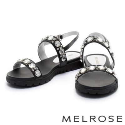 涼鞋 MELROSE 閃耀水鑽鉚釘字帶涼鞋-黑