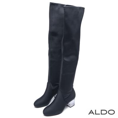 ALDO 黃金比例黑色水晶粗跟膝上靴~尊爵黑色