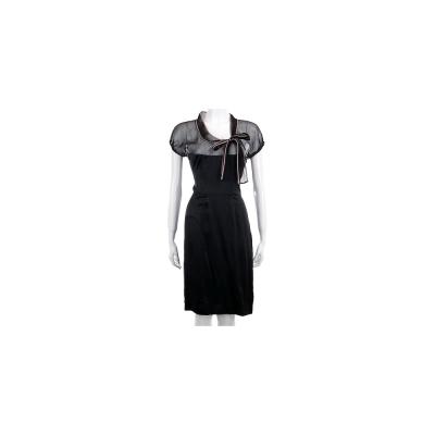 VALENTINO 黑色蝴蝶結緞面洋裝