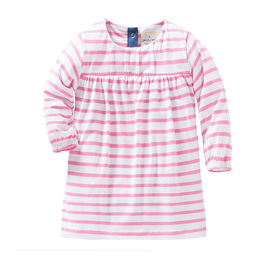歐美風 女童 純棉長版 長袖T恤-粉條紋
