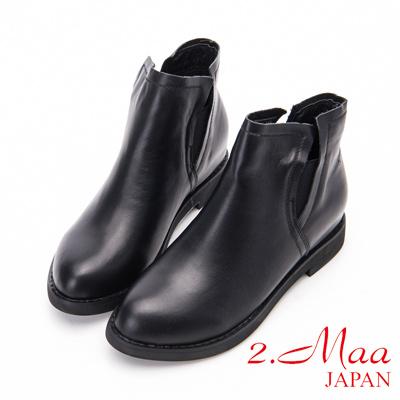 2.Maa - 經典V側款牛皮內增高短靴-黑