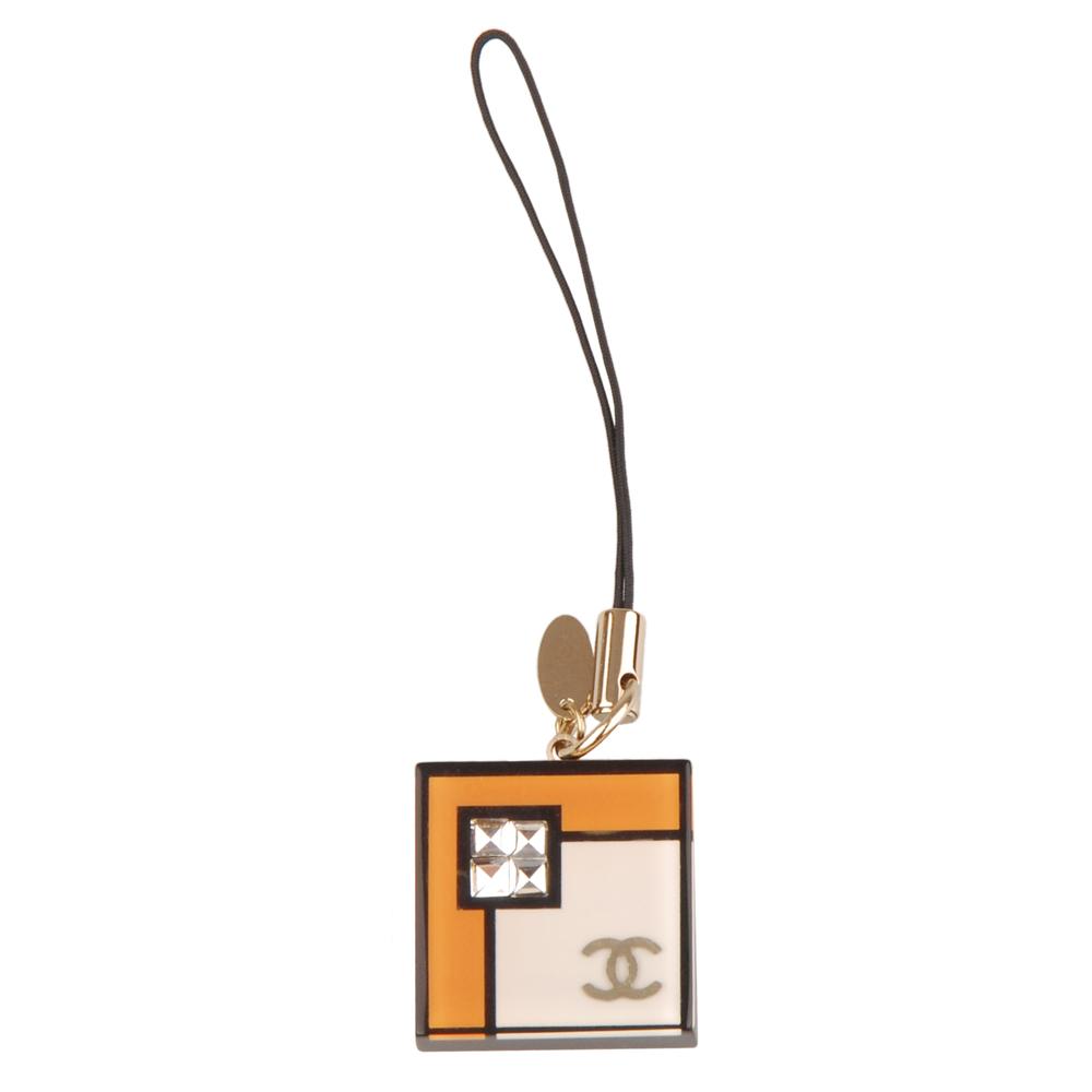 CHANEL 雙C造型方型手機吊飾-(橘白)