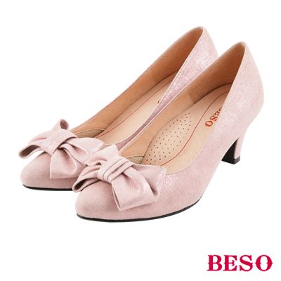 BESO 典雅氣質 全真皮閃耀立體蝴蝶結跟鞋~粉紅