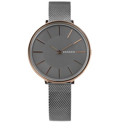 SKAGEN  Karolina北歐簡約防水米蘭編織不鏽鋼手錶-灰x玫瑰金框/38mm