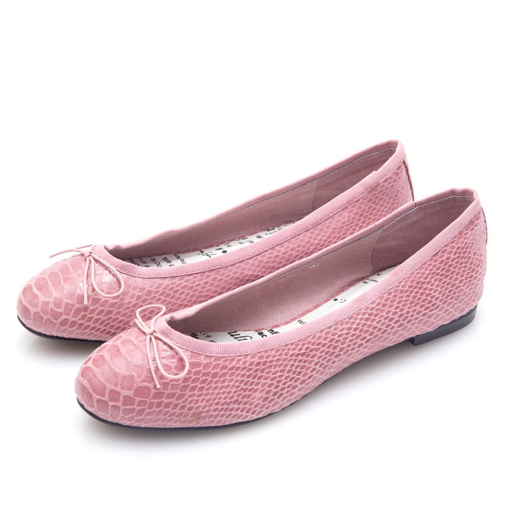 G.Ms. 蛇紋羊皮蝴蝶結芭蕾娃娃平底鞋-粉紅