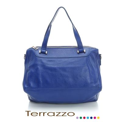 義大利Terrazzo-高質感牛皮獨特造型肩背包-藍色 23E0007A10429