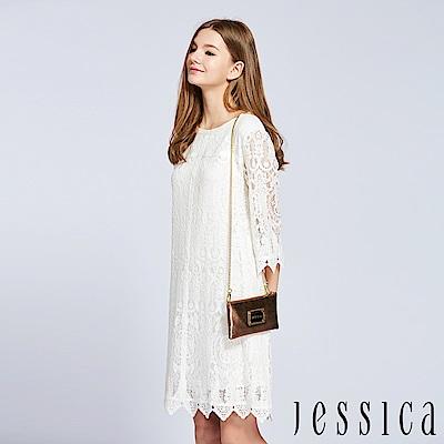 JESSICA - 氣質輕柔蕾絲設計洋裝(白)