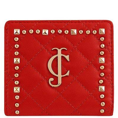 JUICY COUTURE 紅色皮革菱格壓紋短夾