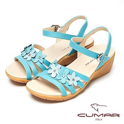 CUMAR心花怒放-皮革花飾真皮坡跟涼鞋-水藍色