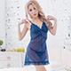 性感睡衣 嫣然薄暮 柔紗半透蕾絲連身睡裙(深藍F) AngelHoney天使霓裳 product thumbnail 1