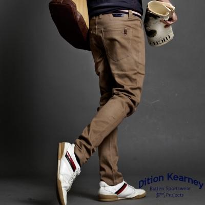 DITION ROIAL高彈力箭頭皮革工作褲 合身休閒褲