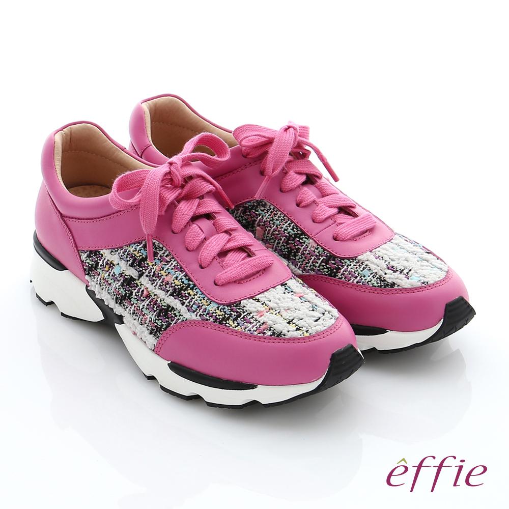 effie  輕量抗震 真皮拼接綁帶奈米健走運動鞋 桃粉紅色