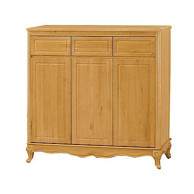 品家居  莎歐4尺檜木實木三門三抽鞋櫃-120x39x120cm免組