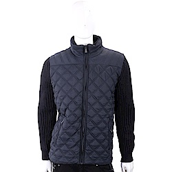 TRUSSARDI 絎縫尼龍深藍立領拼接坑條針織夾克