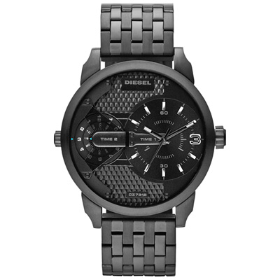 DIESEL 航行者二地時間個性時尚腕錶-IP黑/46mm