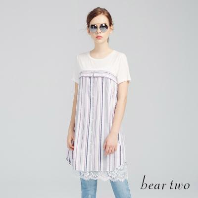 beartwo 繽紛直紋拼接蕾絲長版洋裝(紫色)-動態show