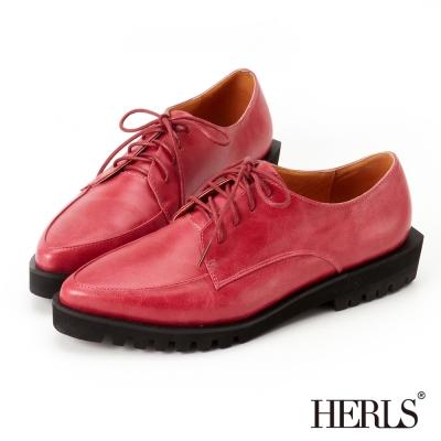 HERLS-英倫街頭-綁帶素面-厚底鞋-桃紅色